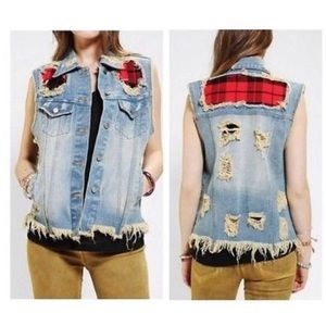 NWT UNIF x UO torn plaid jean jacket Vest